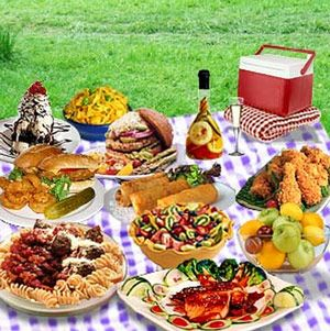 Picnic Recipes - potato salad, cole slaw, pasta salad, baked beans — add fried chicken, watermelon & ice-cold lemonade & you're all set!