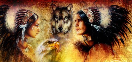 painting young indian man and woman, with wolf and eagle