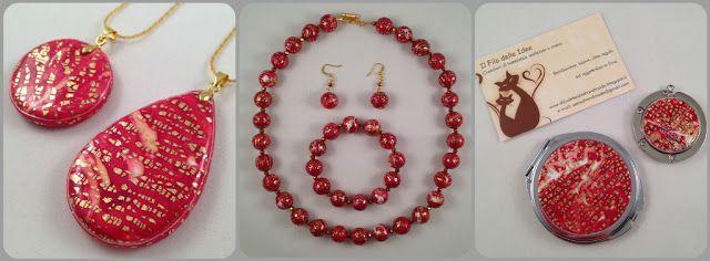 ilfilodelleidee: Gioielli ed accessori fatti a mano in fimo traslucido rosso e bianco e foglia oro