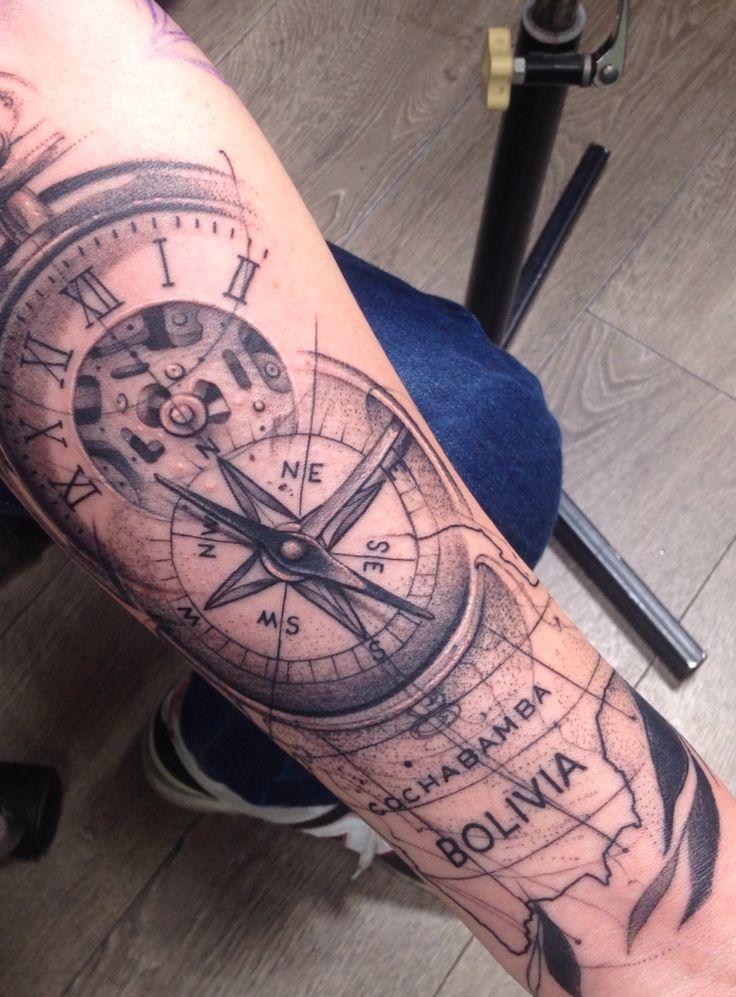 #tattoo #ink #compass #pocket #watch #map #Bolivia