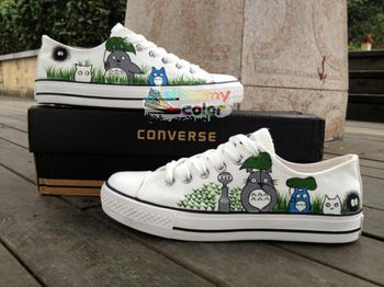 My Neighbor Totoro Hand Painted Converse Shoes Low Top Canvas Sneakers for Men Women