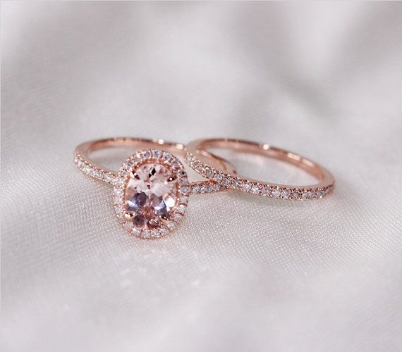 Discount!! Two Ring Set! Oval Cut 7mm VS Halo Morganite Ring 14K Rose Gold SI/H Diamonds Wedding Band /Engagement Ring/ Promise Ring