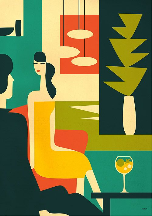: Martinis Couple, Iv Orlov, Ivorlov, Retro Posters, Graphics Design, Colors Schemes, Retro Style, Digital Illustrations, Modern Design