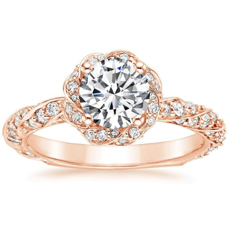 14K Rose Gold Cordoba Diamond Ring, top view