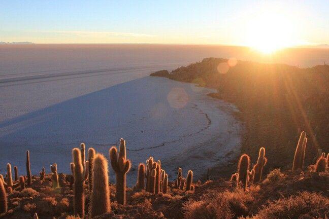 #Sunset, Incahuasi Island, #saltflats #Bolivia http://vanessaohanlon.com/travel