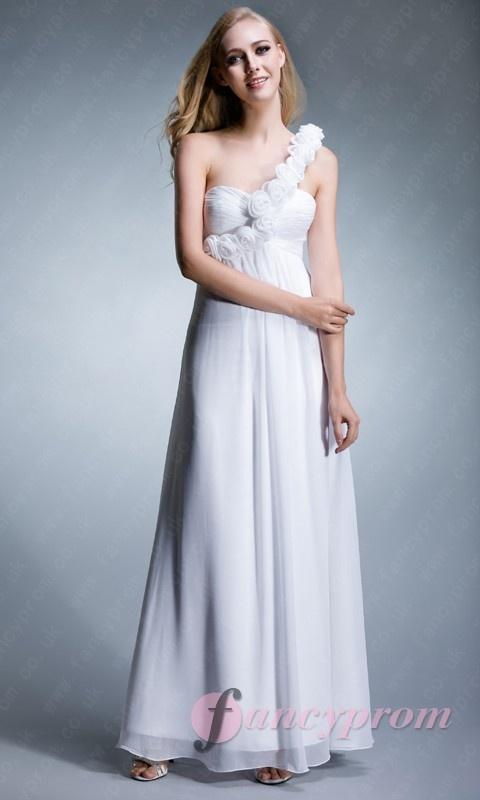 White One Shoulder Empire Waist Full Length Prom Dress