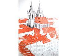 Drawing of Prague. Old church drawing. Rysunek architektury w Pradze. Rysunek starego kościoła