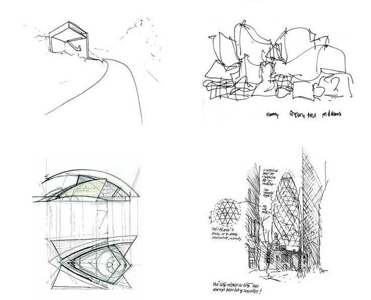 Bocetos a mano alzada de grandes arquitectos