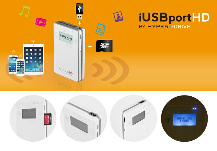"""HyperDrive iUSBport supports a built-in 2.5"""" hard drive with USB 3.0 connectivity, a SDXC card slot as well as an additional USB host port that allows the user to connect even another USB hard drive, all wirelessly connected to your iOS, Android or WiFi-enabled device. Instantly stream 5 different HD movies to 5 different devices or perform 2-way file transfer with up to 12 different users at the same time. No Internet, computer, router or external power required."""