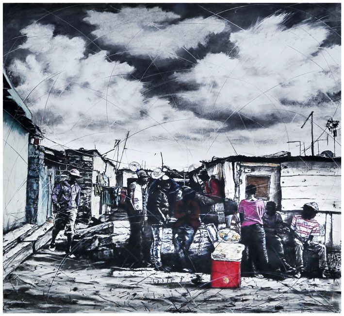 An original work by Phillemon Hlungwani entitled: Homu yo tshama yi nga humi exivaleni ku ya dya byasi a yi na vulongo (If you never leave your homestead, you will never prosper) mixed media on paper 151 X 160cm For more please visit www.finearts.co.za