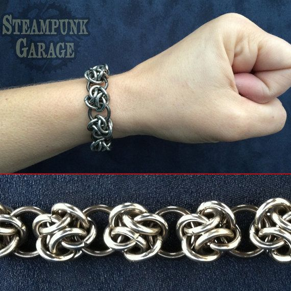 Men's Heavy 14 gauge Stainless Steel Cloud Cover Bracelet - Celtic Knots - Chainmaille