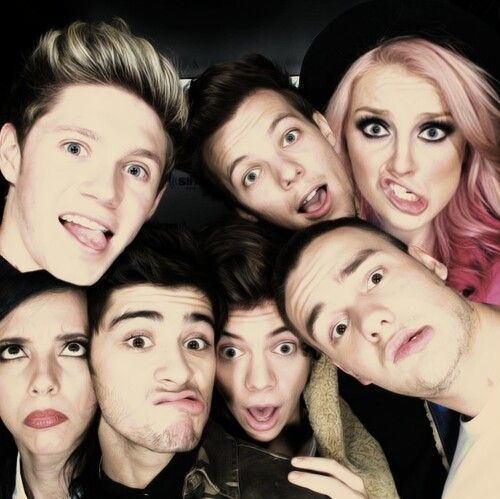 Niall Horan, Jade Thirlwall, Zayn Malik, Harry Styles, Louis Tomlinson, Perrie Edwards and Liam Payne manip