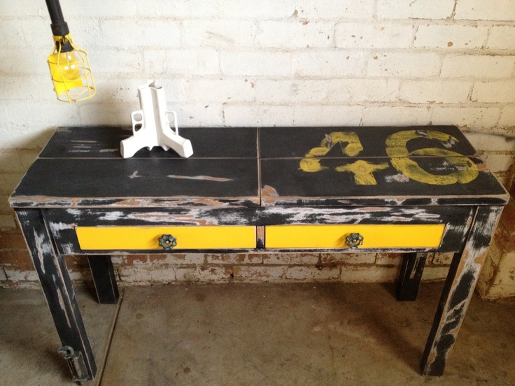 Our Distressed Mr Yellow 46. Was a plain boring quite broken down side console.