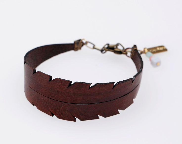 Feather Leather Bracelet in Brown. $25.00, via Etsy.
