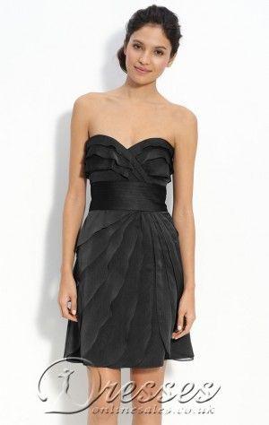 Couture Sheath Short Sweetheart Black Taffeta Dress