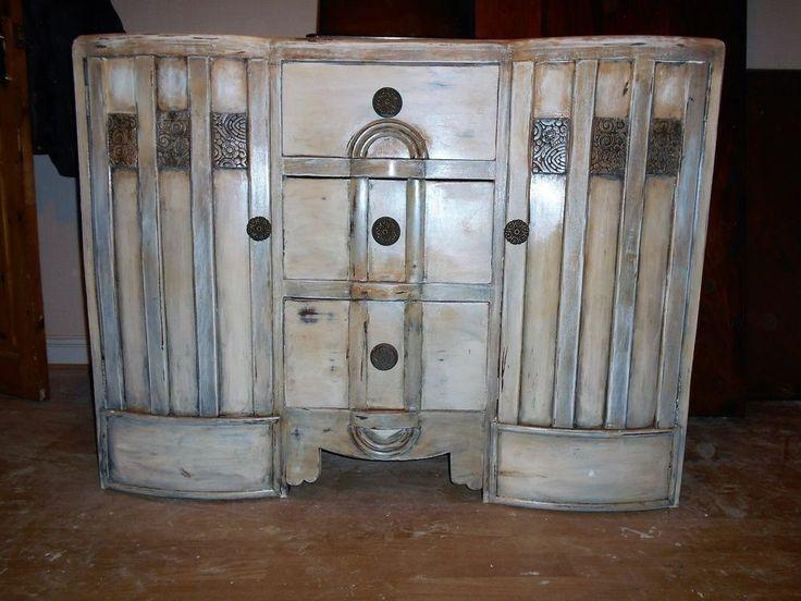 vintage retro shabby chic distressed sideboard dresser entertainment unit