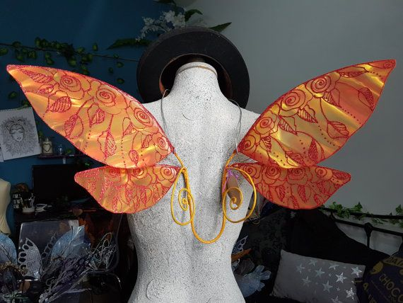 Orange & Red Rose Fairy Wings  Sale Item / Size M suitable
