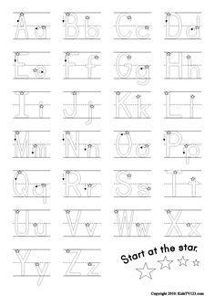 Helpful alphabet writing practice sheet.