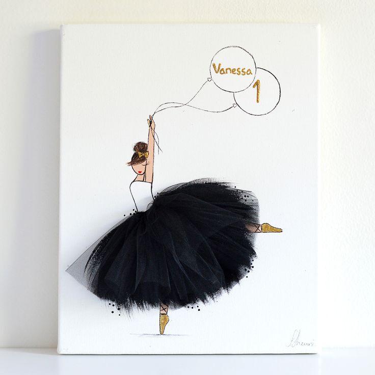 personalized nursery decor - ballerina canvas art balck tutu- shenasi concept