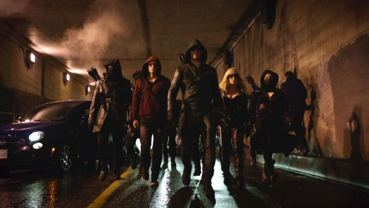 "ARROW - ""UNTHINKABLE""  Green Arrow (Stephen Amell), Black Canary I (Caity Lotz) and Arsenal (Colton Haynes) joins forces with Nyssa (Katrina Law) and the League of Assassins against Deathstroke and his army in the episode, ""Unthinkable."""