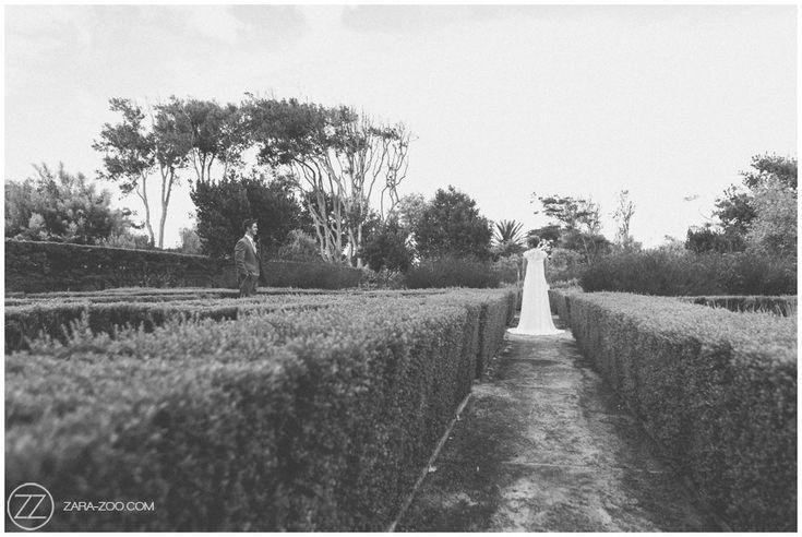 #Wedding at #Steenberg Estate #CapeTown. Couple photos in the #maze garden. #photography #ZaraZoo