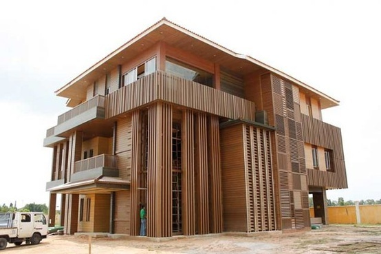 Biowood architectural composite wood facade and cladding