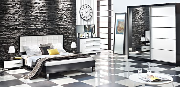 Modern bedroom with black and white glamour