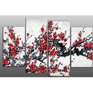"""Large Chinese Floral Painting Red Flower Floral Blossom Canvas artwork 4 pieces multi panel split canvas ready to hang, hanging template included for easy hanging, UK company 40"""" width 27"""" height: Amazon.co.uk: Kitchen & Home"""