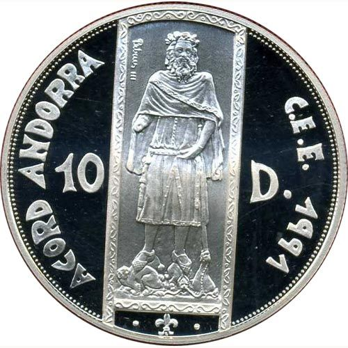 Moneda de Plata 10 Diners Andorra 1994.