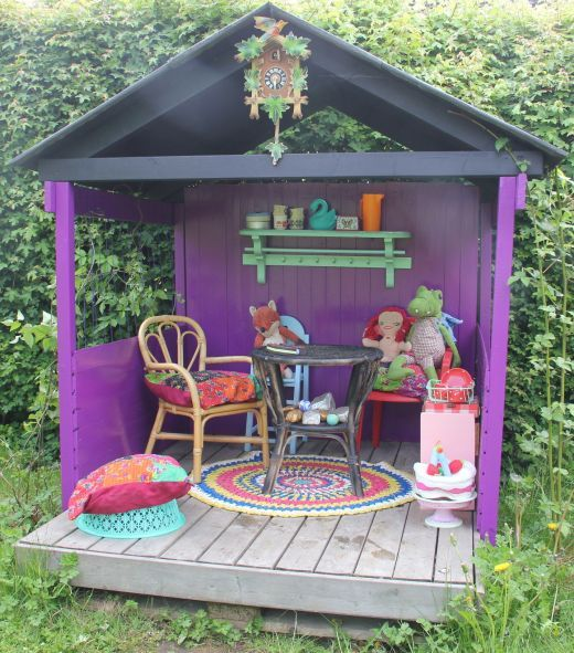 """Very simple play house. Oh my gosh, this reminds me of a mini version of Jill's """"Party House"""". How amazing would it be to have a playhouse that doubled as a tribute to that happy little space?!"""