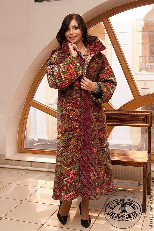 Купить пальто из павловопосадского платка Изысканный - цветочный, пальто женское, пальто демисезонное, пальто на подкладе
