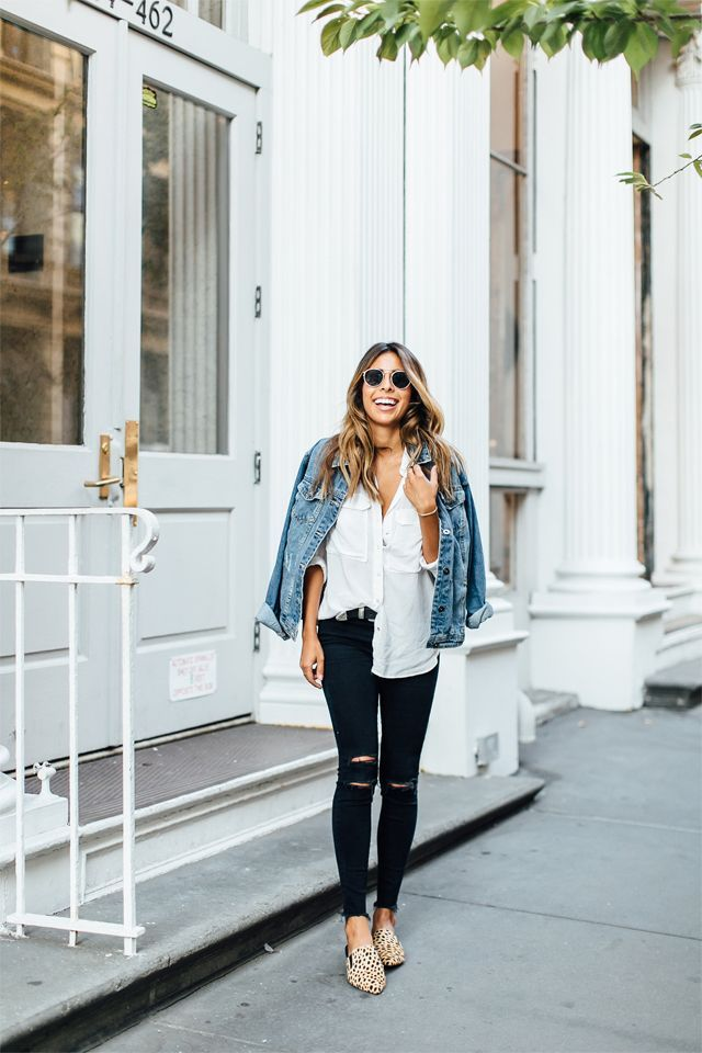Black ripped skinny jeans, white shirt denim jacket, leopard flats casual outfit