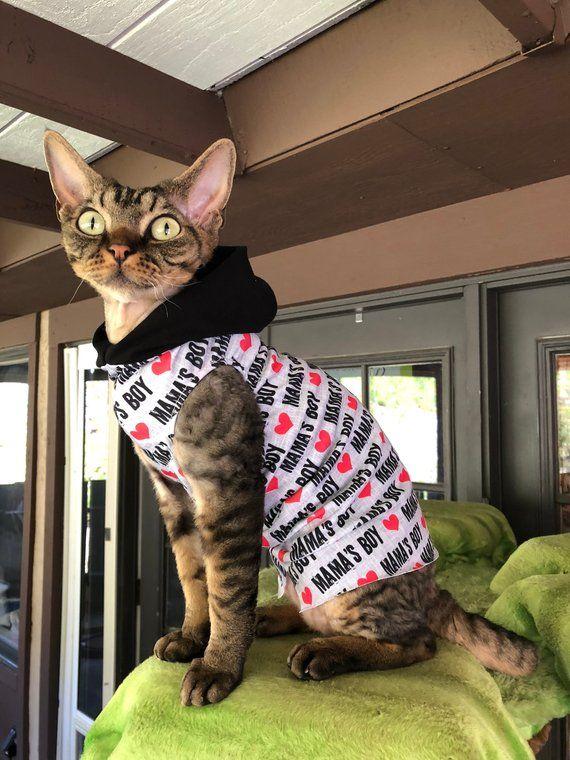 Mama 39 S Boy Sphynx Cat Clothes Tank Or Hoodie By Simplysphynx Pet Health Pet Health Insurance Cat Illnesses