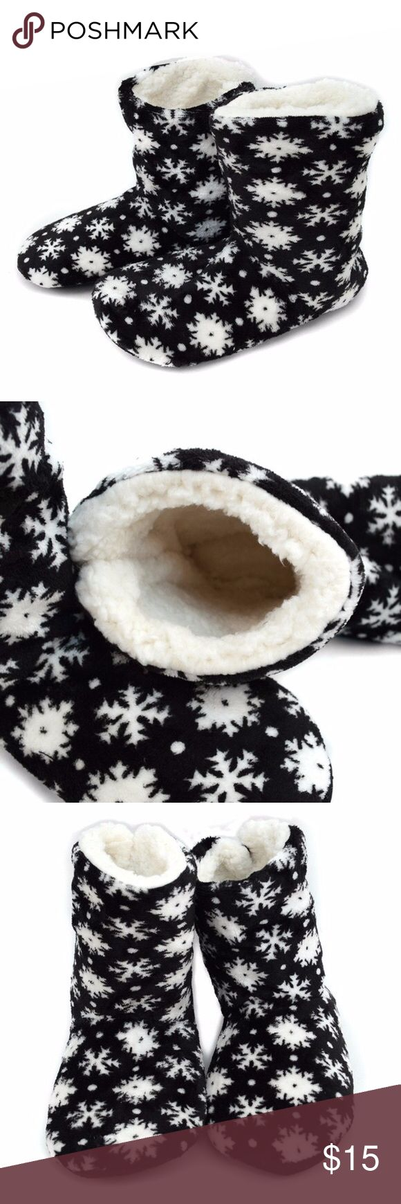 """Winter Snowflake Slippers Faux Fur Non-Slip Bottom Winter Snowflake Slippers Faux Fur Non-Slip Bottom Holiday Winter Gift    The inside is entirely lined with super soft faux fur. Can be worn to cover your ankles or folded down!  Perfect for everyday wear or as a gift  Fuzzy exterior, Ultra soft fleecy interior lining, Beaded rubber bottoms for non-slip grip    S fits: ladies shoe size 5-6 Bottom Size : 9.5""""  M fits: ladies shoe size 7-8 Bottom Size : 10""""  L fits: ladies shoe size 9-11…"""