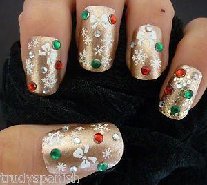 Weihnachten Schneewittchen Schneeflocken & Bögen Design 3D Nail Art Sticker Decals – (Y8)