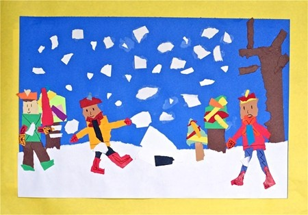 """""""Snow Scenes"""" - Torn shapes have an air of spontaneity, which makes it a perfect medium for these fun snow scenes and second graders. Students learned that paper has a grain. To make regular strips we tear along with the grain of the paper; tearing across the grain, will produce a random, ragged effect."""