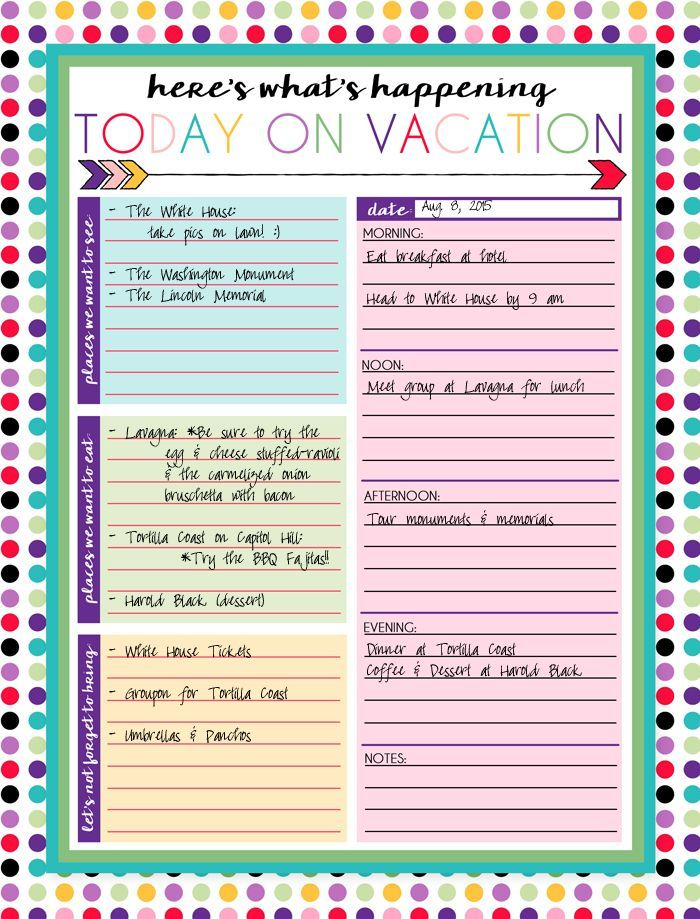 Free Printable Daily And Weekly Vacation Calendars Travel
