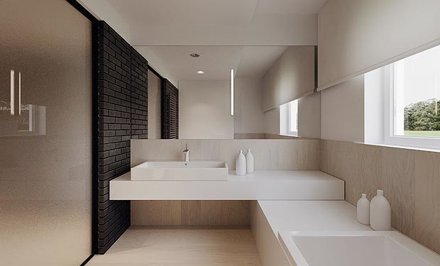 Minimalist bathroom with black brick. So sleek.