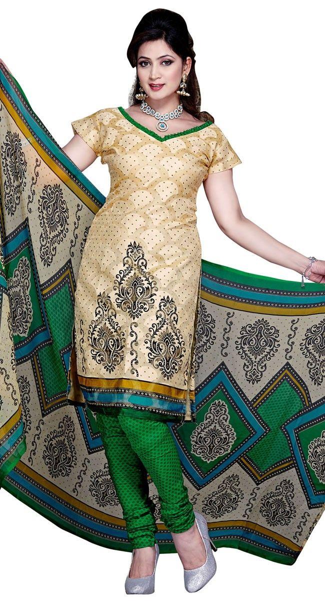 Dressy Cream & Green Printed #Salwar #Kameez