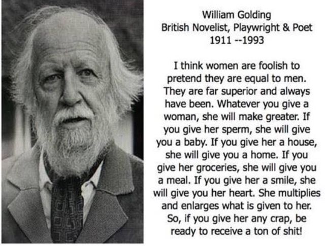 I think women are foolish to pretend they are equal to men......William Golding