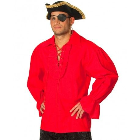 Déguisement chemise pirate rouge homme