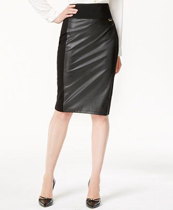 Image 1 of Calvin Klein Faux-Leather Panel Pencil Skirt