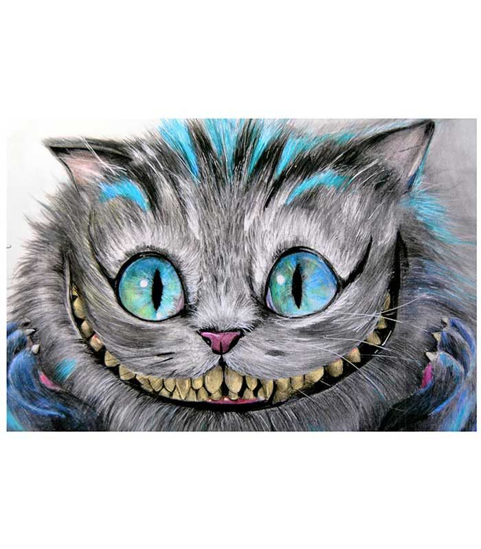 """Cheshire Cat art print by artist Manuela Lai. Art print size 12"""" x 18"""" (30.5cm x 45.5 cm). Art prints are printed on heavy weight, 100 lb semi gloss cover stock. All prints are individually wrapped an"""