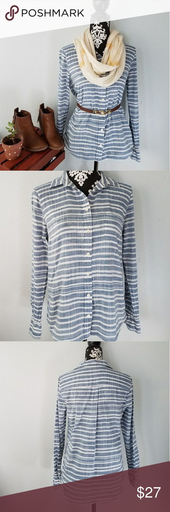 """J.Crew Striped Gauze boy button down Cute J. Crew Gauze boy striped button down blouse. Blue and white in color with a pocket  on the left chest.  100% cotton, lightly used I'm great condition. Size 8.  Measures  Length 24 1/2"""" Armpit to armpit 20"""" Sleeves 24"""" J. Crew Tops Button Down Shirts"""