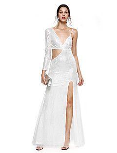 TS+Couture+Baile+de+Fim+de+Ano+Evento+Formal+Vestido+-+Brilho+&+Glitter+Fendas+Tubinho+Decote+V+Longo+Paetês+com+Fenda+Frontal+Lantejoulas+–+BRL+R$+2.913,22