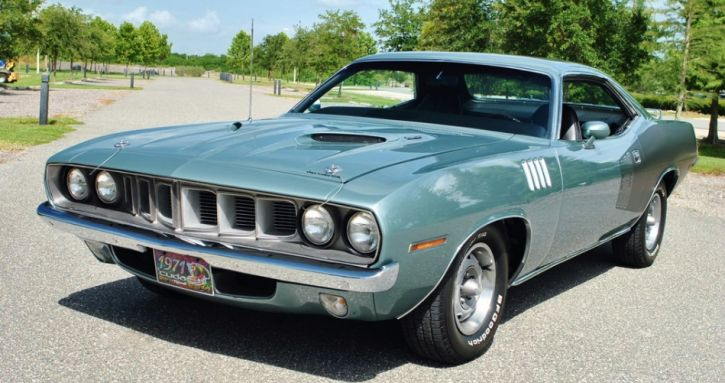 Bold Winchester Gray 1971 Plymouth Cuda Up Close