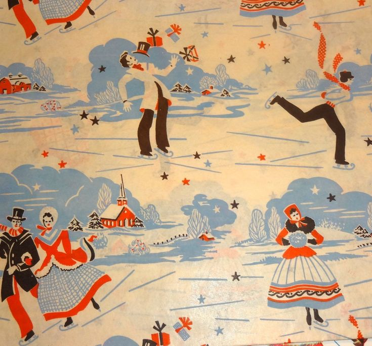 Vintage 1950's Christmas Wrapping Paper, Holiday Skaters | eBay