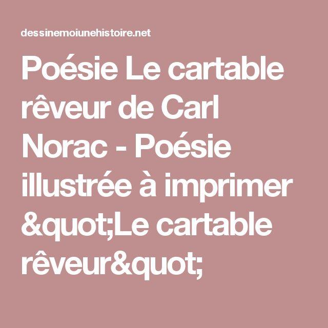 """Poésie Le cartable rêveur de Carl Norac - Poésie illustrée à imprimer """"Le cartable rêveur"""""""