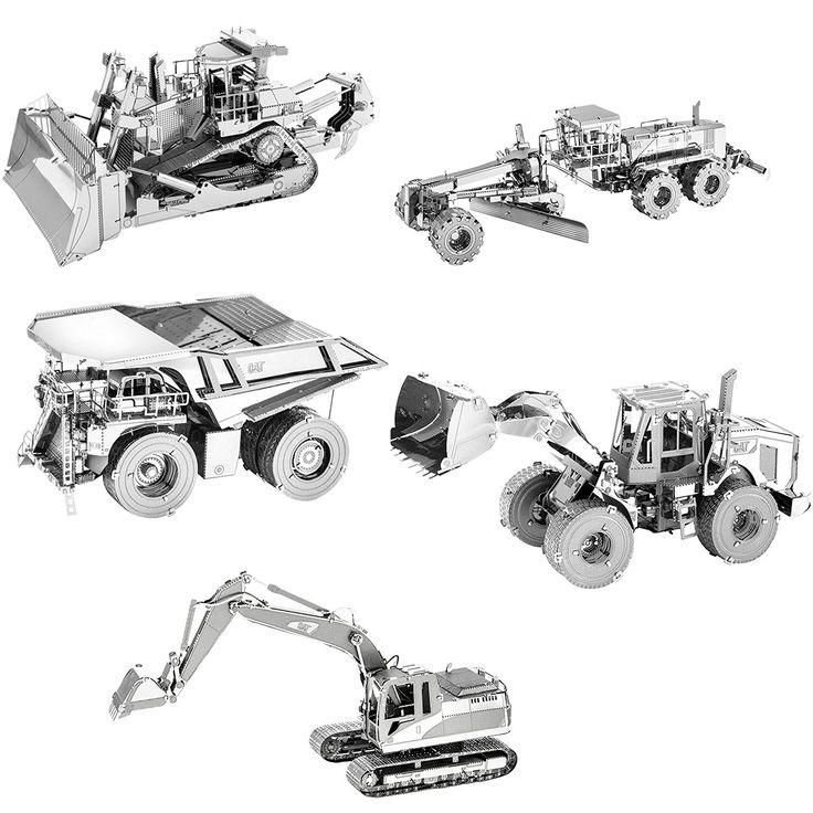 Metal Earth CAT 3D Metal Model Kit Set of 5: Motor Grader, Excavator, Wheel Loader, Mining Truck, Dozer