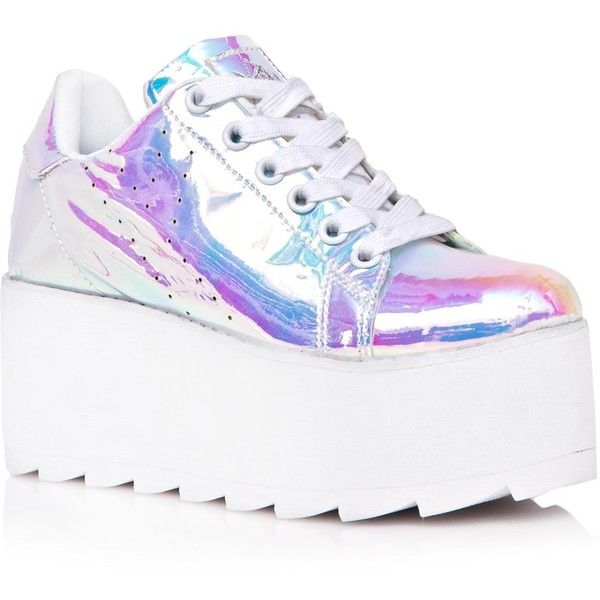 Pink Pastel Holographic Platform Sneakers (£105) ❤ liked on Polyvore featuring shoes, sneakers, zapatos, platform trainers, lace up sneakers, pink shoes, laced up shoes and lace up shoes